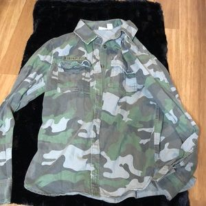 Mudd Army Button-Down Long Sleeve Top